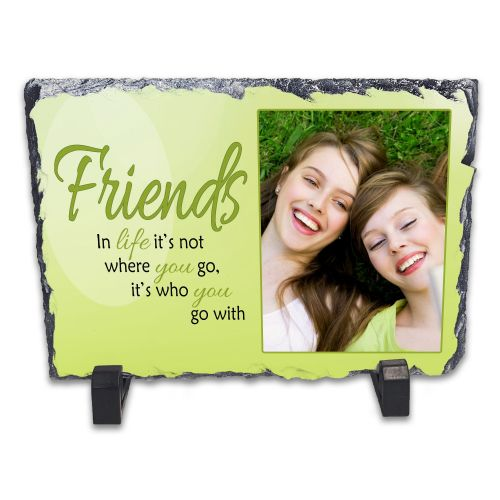 Personalised Friends, It's Who You go With In Life Rock Slate Photo Frame - Rectangle